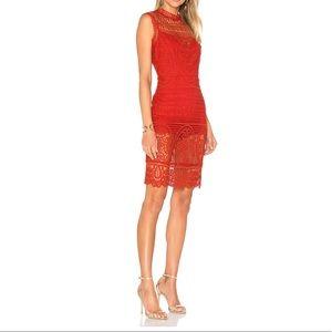 Lovers + Friends Crochet Red Midi Dress